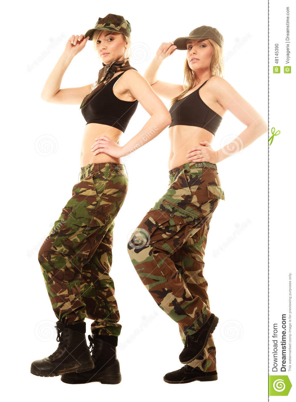 Full length two women in military clothes army girls isolated on white 34a82da652