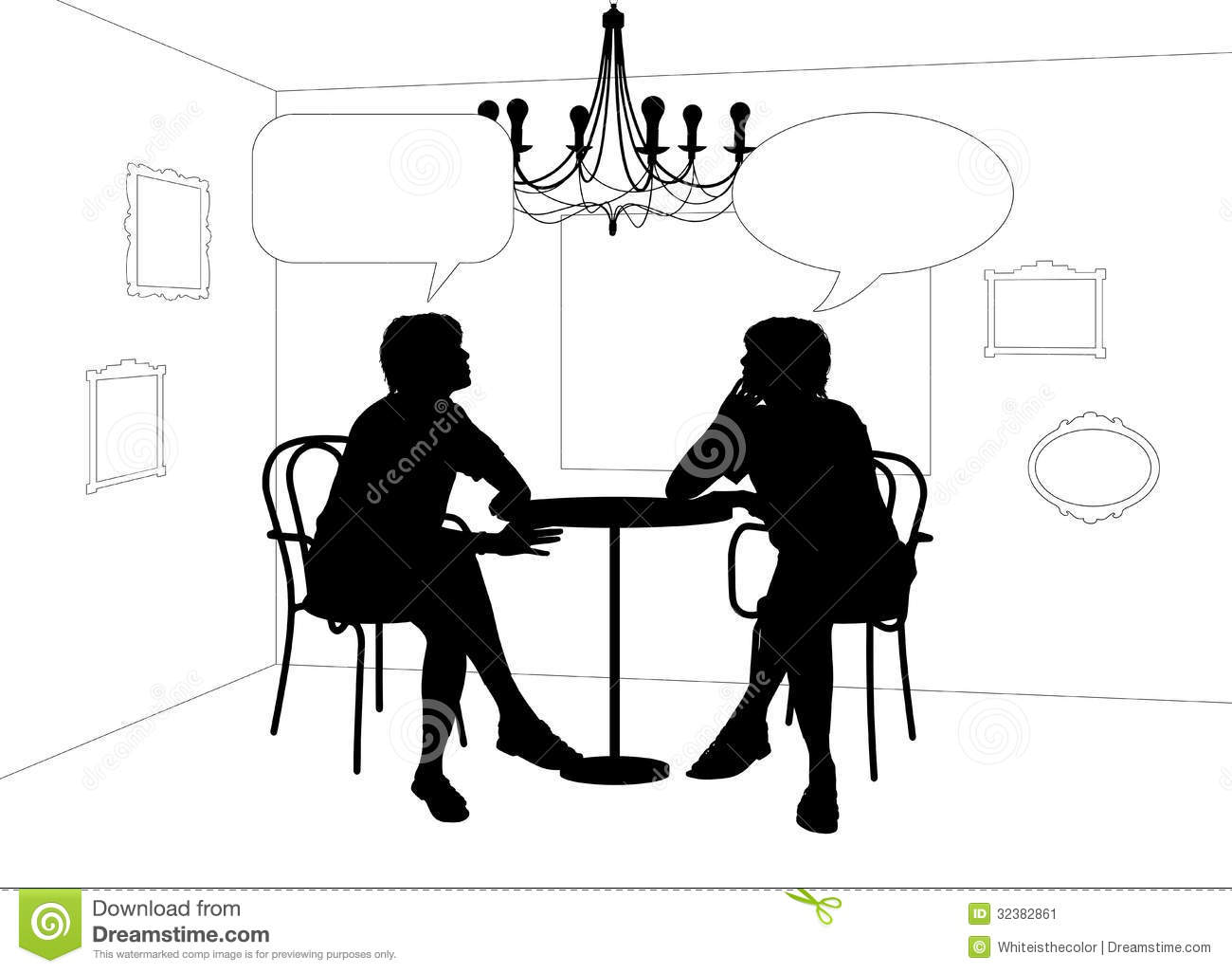Silhouette of a couple at restaurant royalty free stock photos image - Two Women Speaking At The Table In Cafe Stock Image