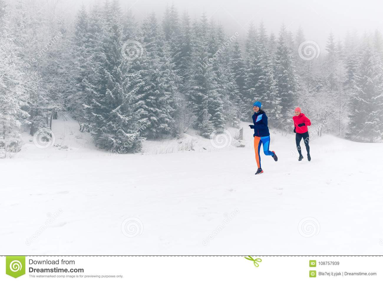 Two Women Trail Running On Snow In Winter Mountains Stock Image - Image of  partners, clothes: 108757939