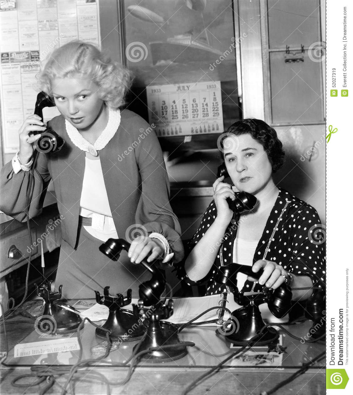 Two women working on a phone bank