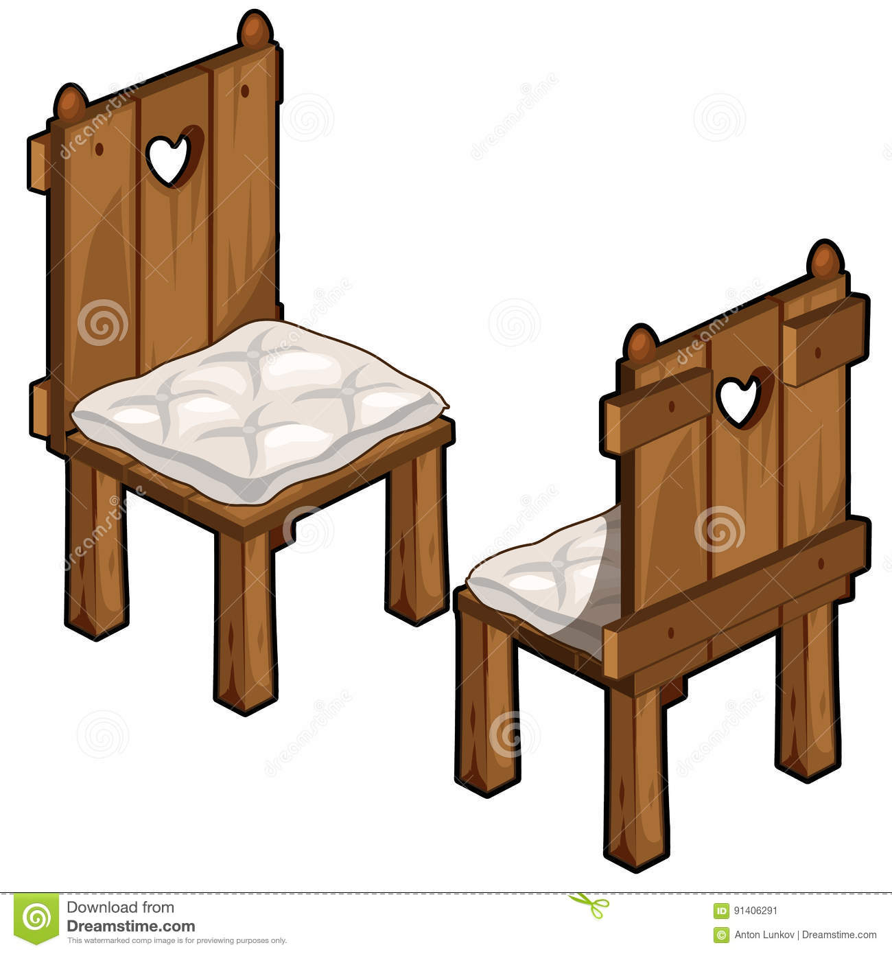 Two Wooden Chairs With Soft Seats Stock Vector