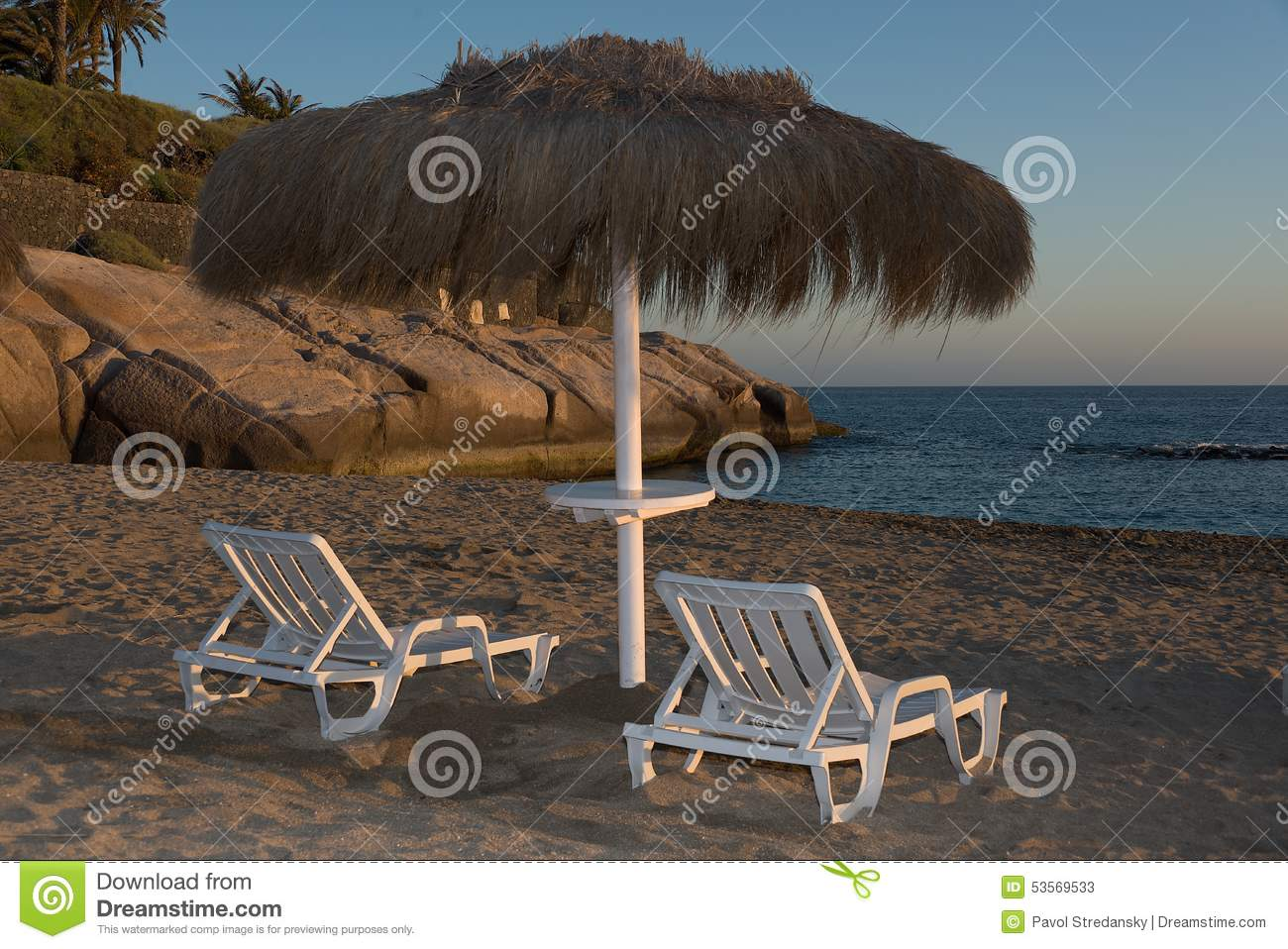 Tropical Beach Chairs Two Wooden Dack...