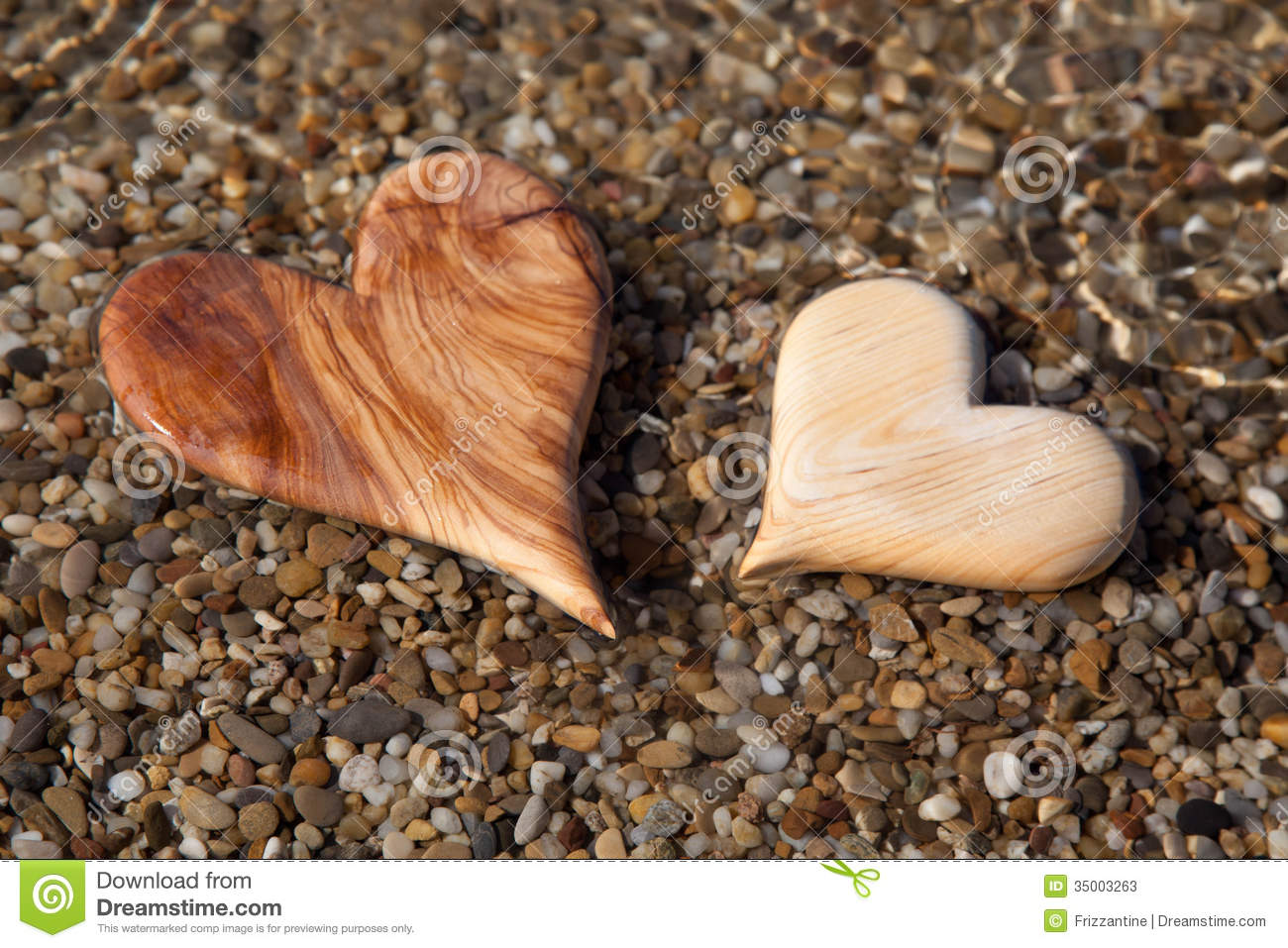 card craft for valentine day - Two Wooden Hearts Shape In The Nature For Greeting Card