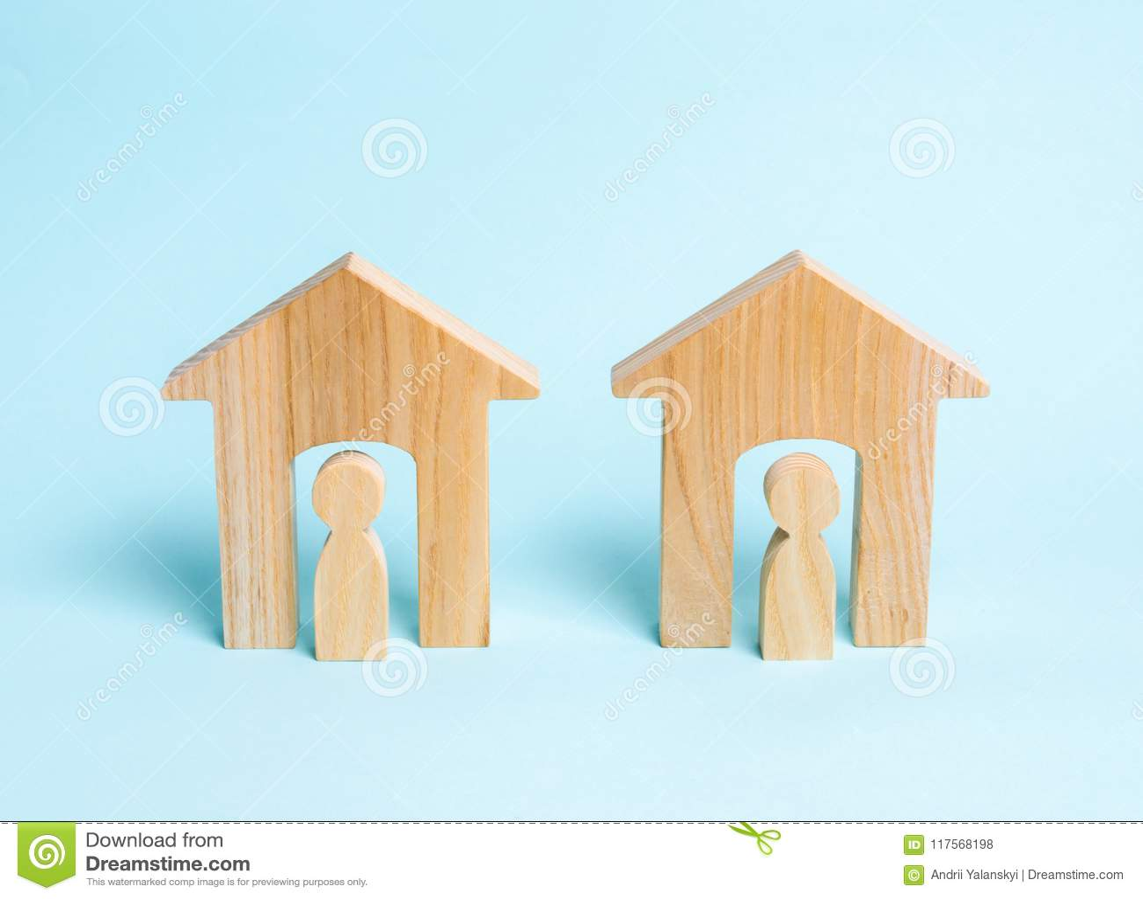 Two wooden houses with neighbors. Two neighbors. Good neighborhood, district. Communication, communication between two people