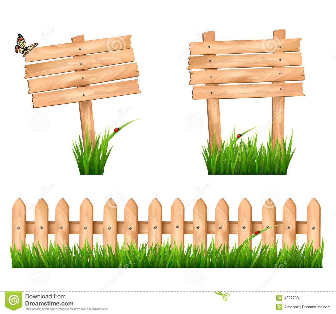 Two wooden signs and a fence with grass stock vector