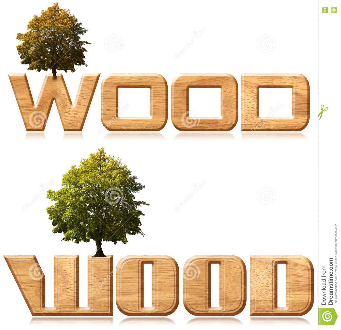 Two Words Wood In Wood Carving With Tree Royalty Free Stock Photo - Image: 21986875