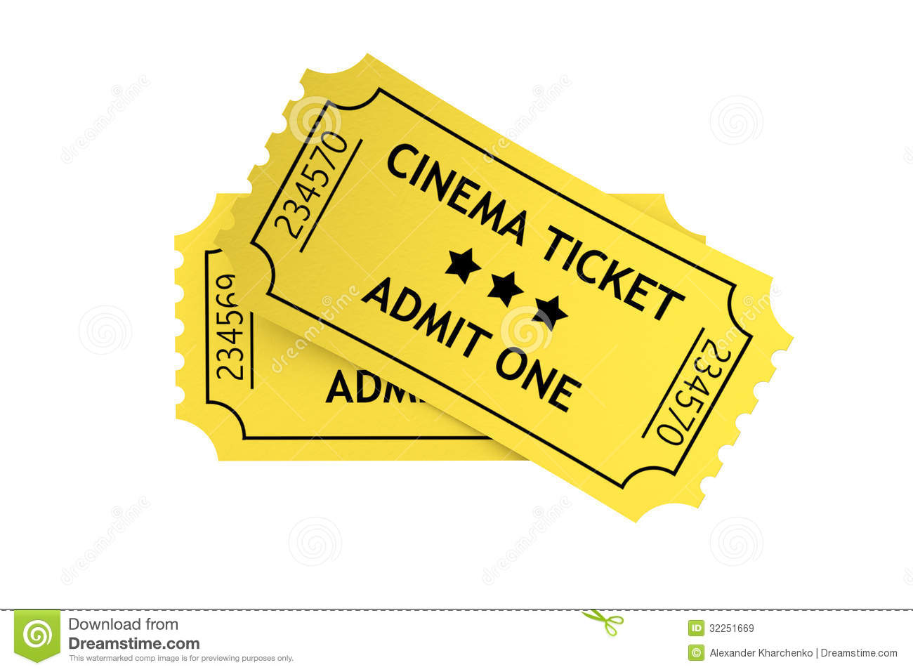 Two Yellow Cinema Tickets Royalty Free Stock Images - Image: 32251669