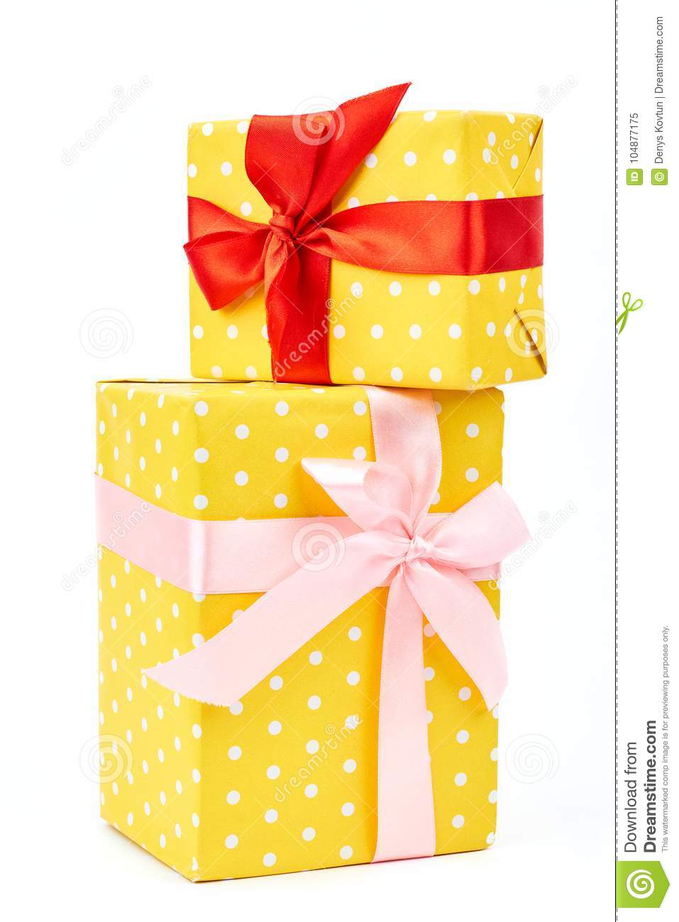 Two Yellow Dotted Gift Boxes Stock Image Image Of Decorate