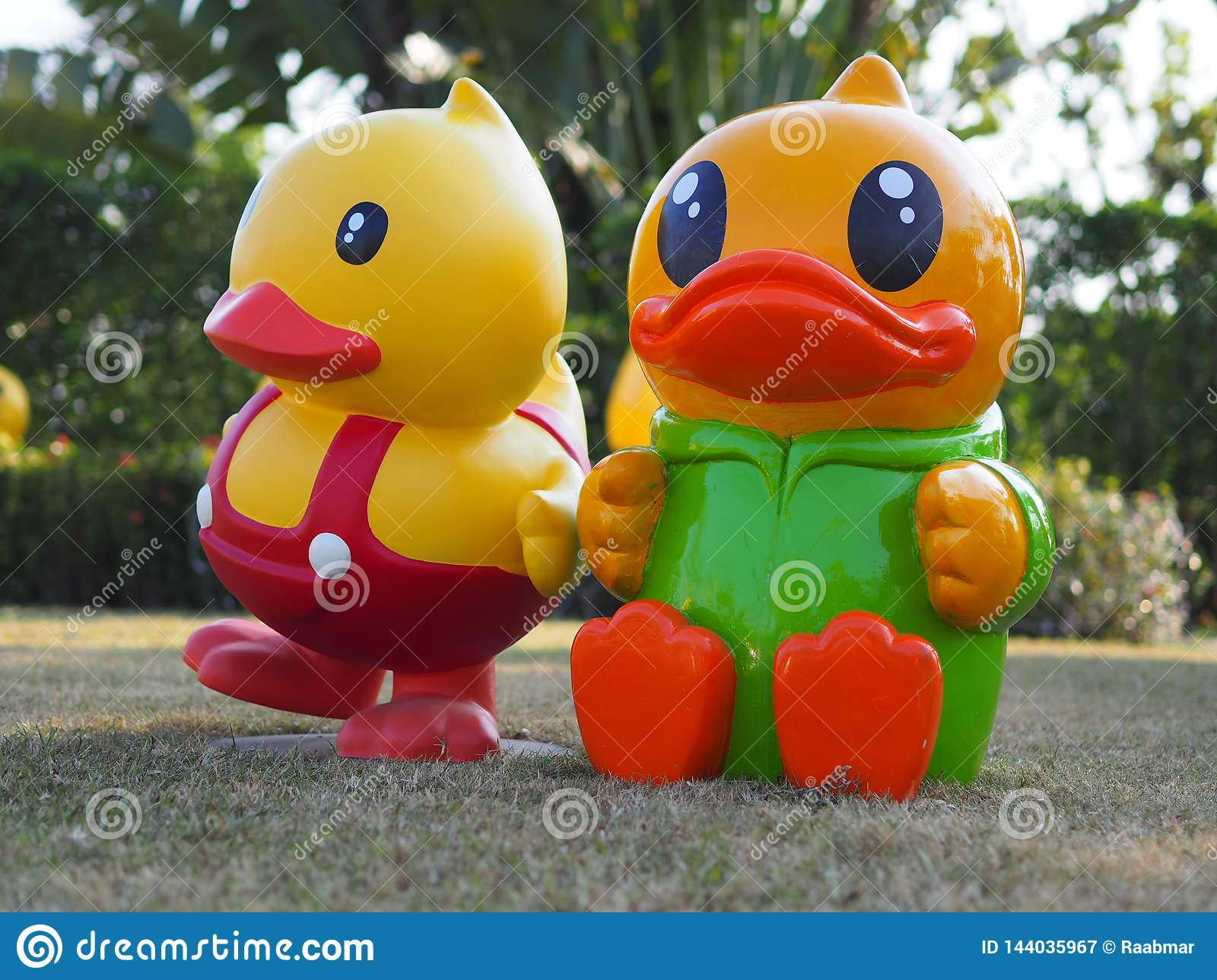 Two yellow ducks in Udon Thani Thailand