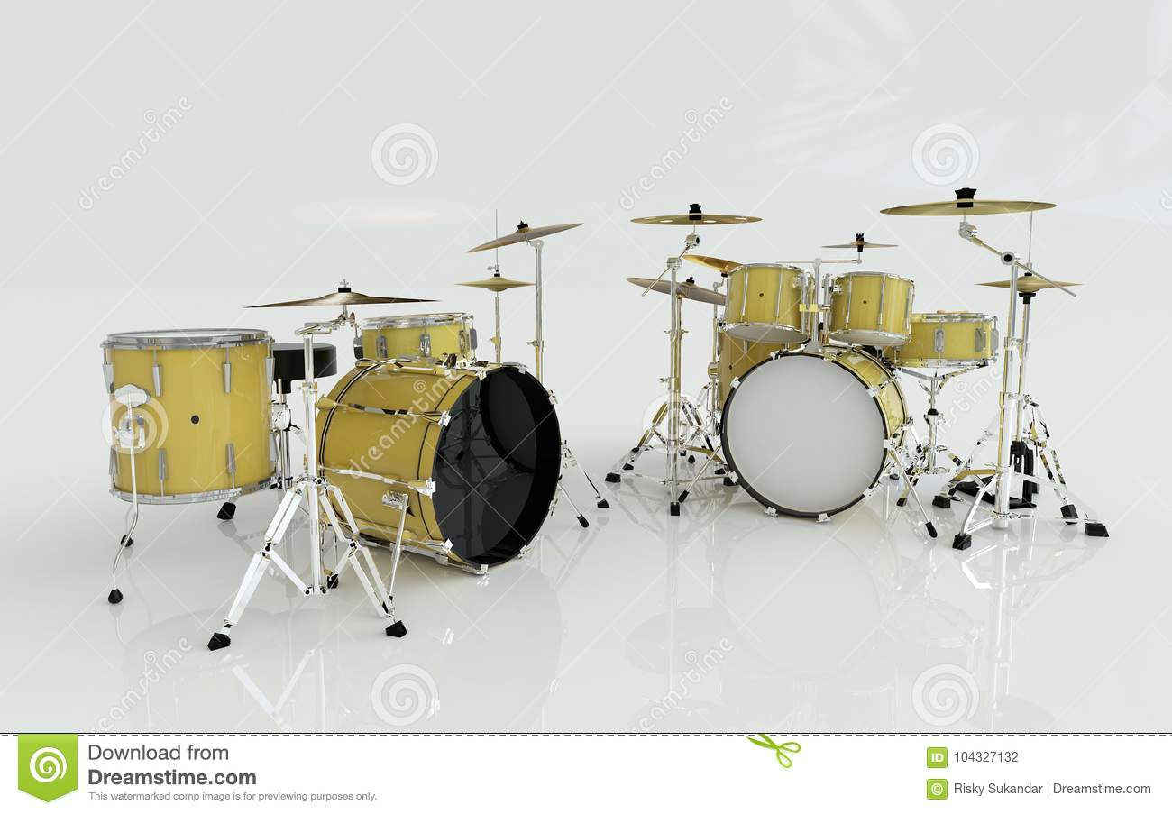 Two Yellow Or Gold Drums Set In The White Room Stock Illustration