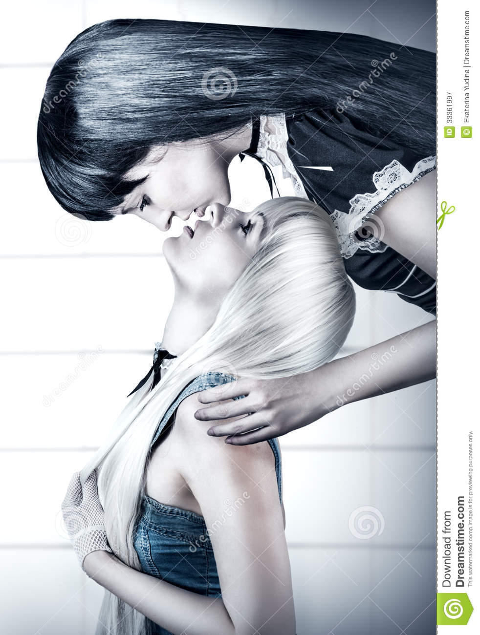 Two blonde kissing