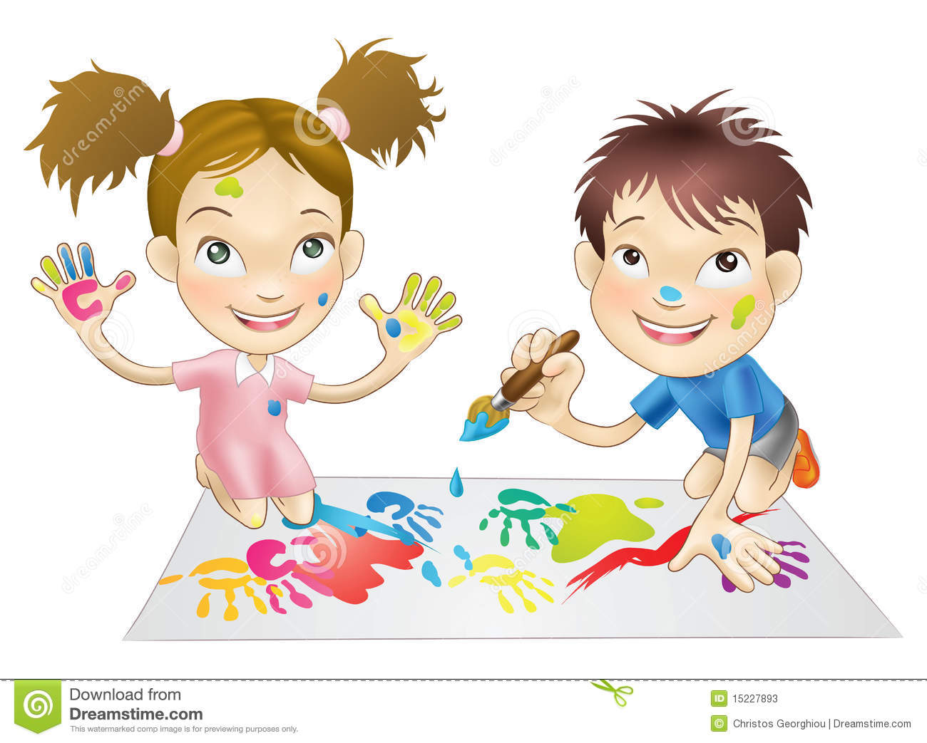 Two Young Children Playing With Paints Stock Photos - Image: 15227893