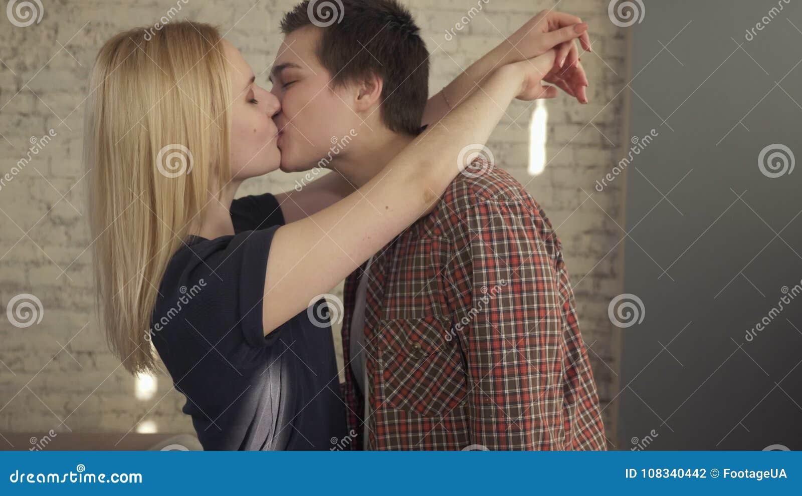 Girls passionately kissing