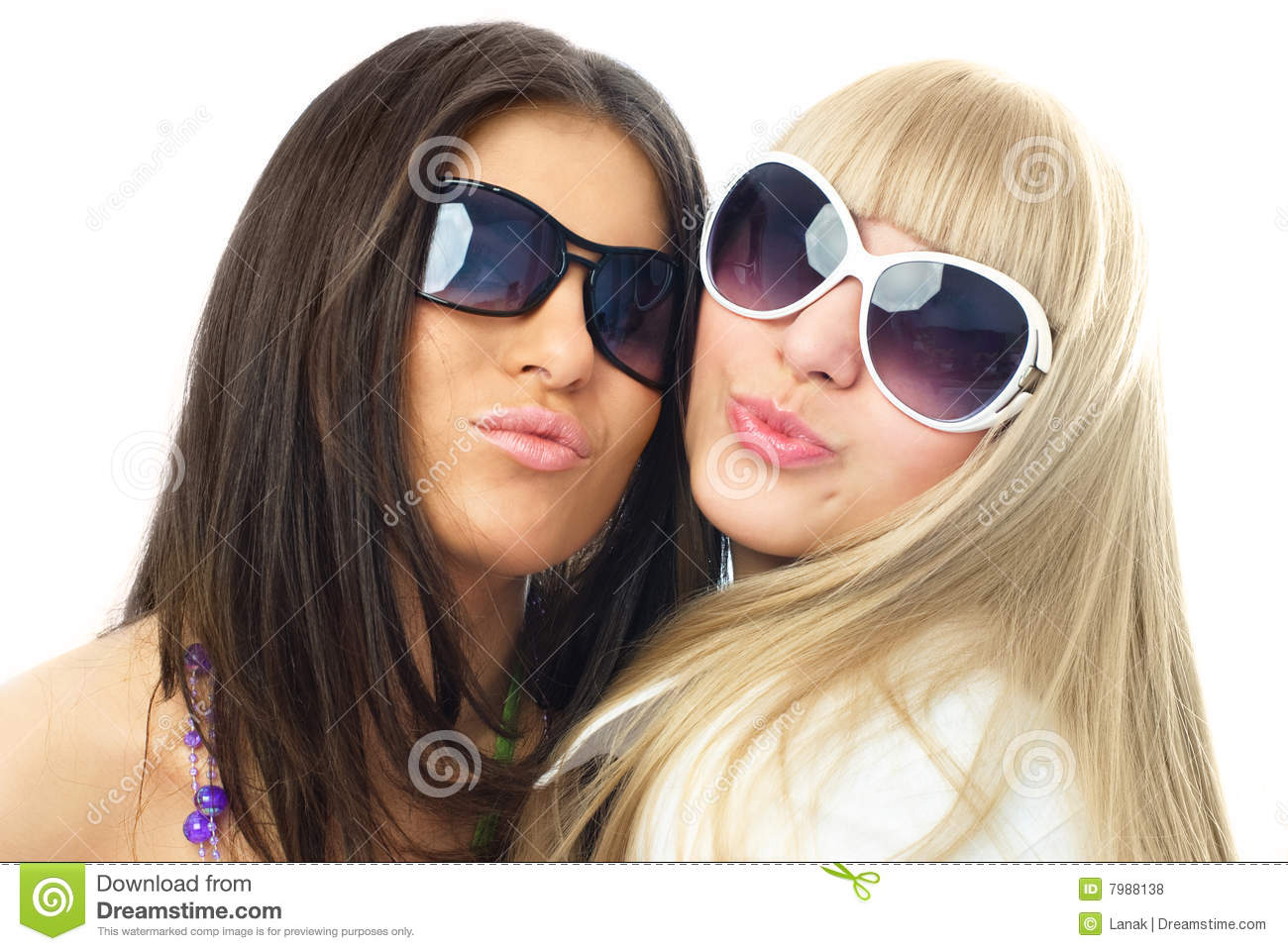 Download Two Young Glamorous Girls Sending Us An Air Kiss Stock Photo - Image of affection, attractive: 7988138