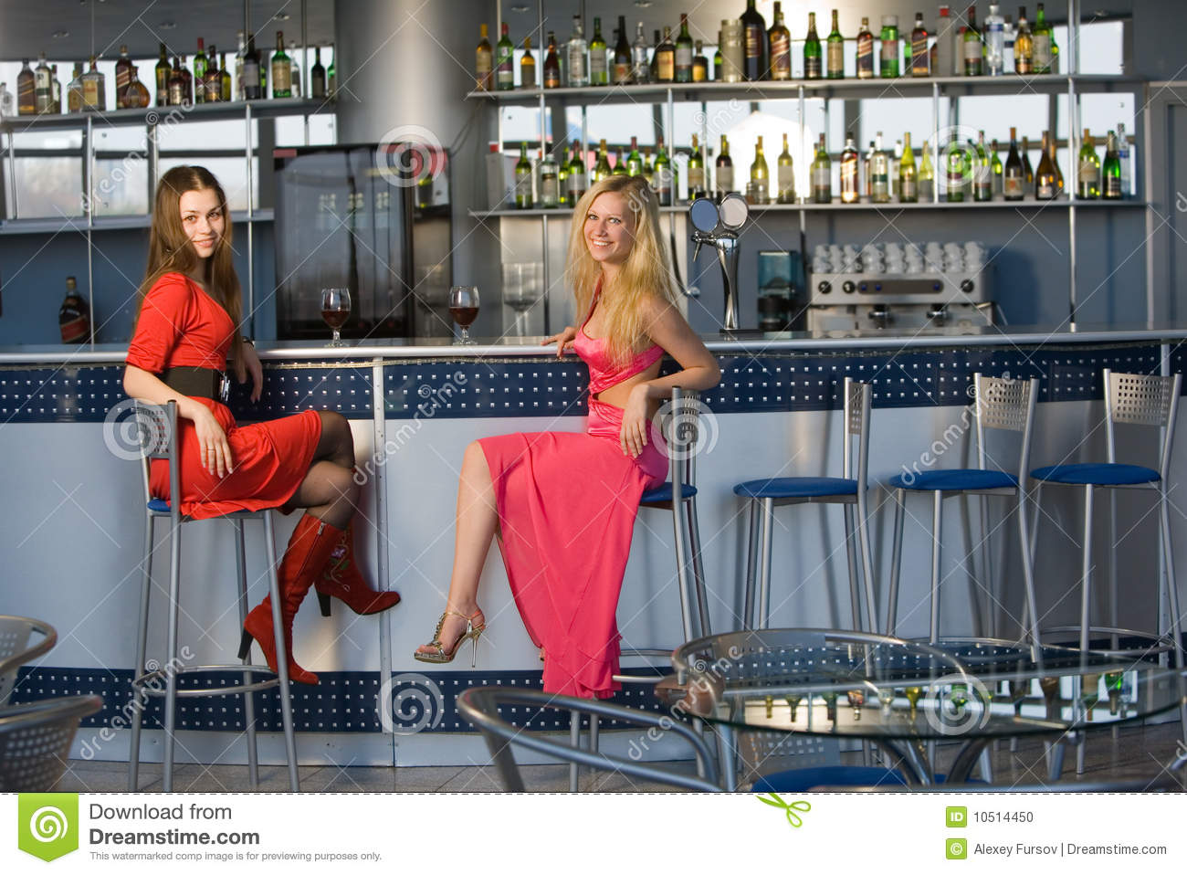 Two Young Ladies Sitting At Bar Counter Stock Photo  : two young ladies sitting bar counter 10514450 from dreamstime.com size 1300 x 957 jpeg 185kB