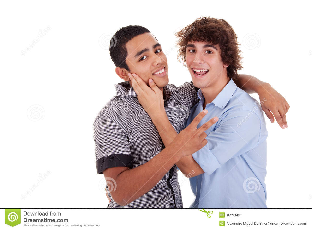 Two Young Men Laughing And Hugging Stock Image