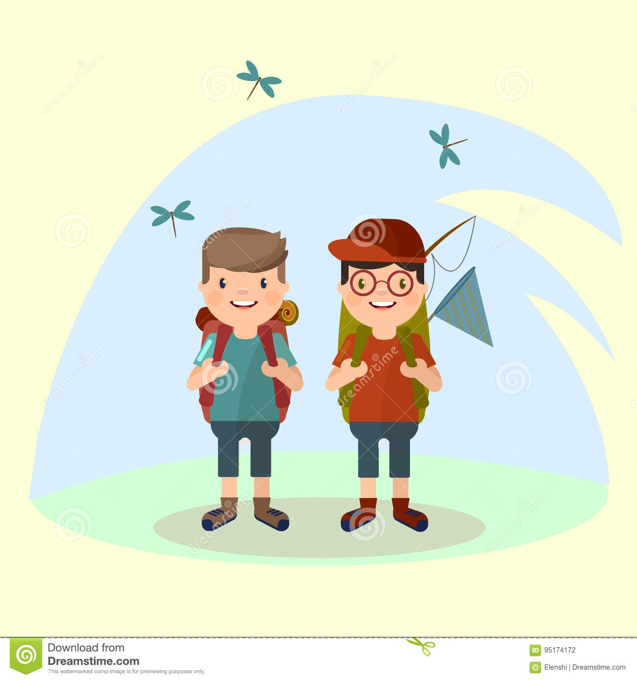 Two young Men tourist with a backpack goes on a hike against the background of nature. Vector in the style of th