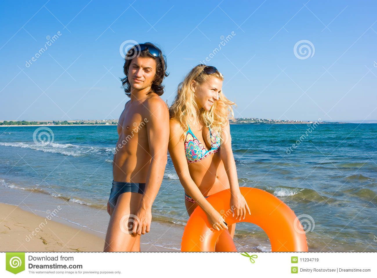 two young people on beach stock image image of beauty 11234719
