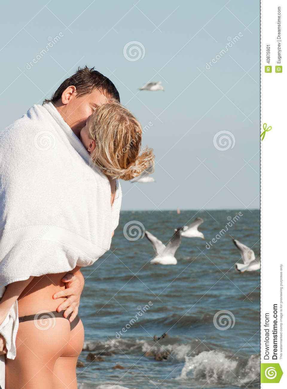 Two young people in love stock image. Image of birds