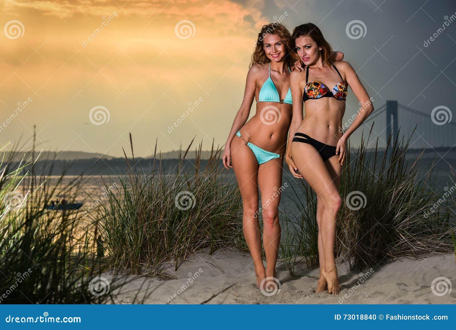 0e40c5c7f9d Two Young Pretty Bikini Models. Stock Photo - Image of fashion ...