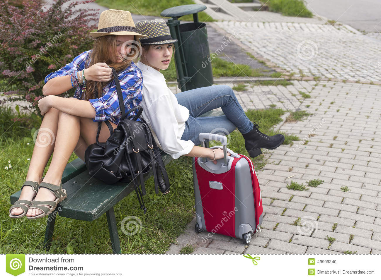 Two Young Pretty Girls While Traveling. Summer Vacation Stock Photo ... 635e8fd867632