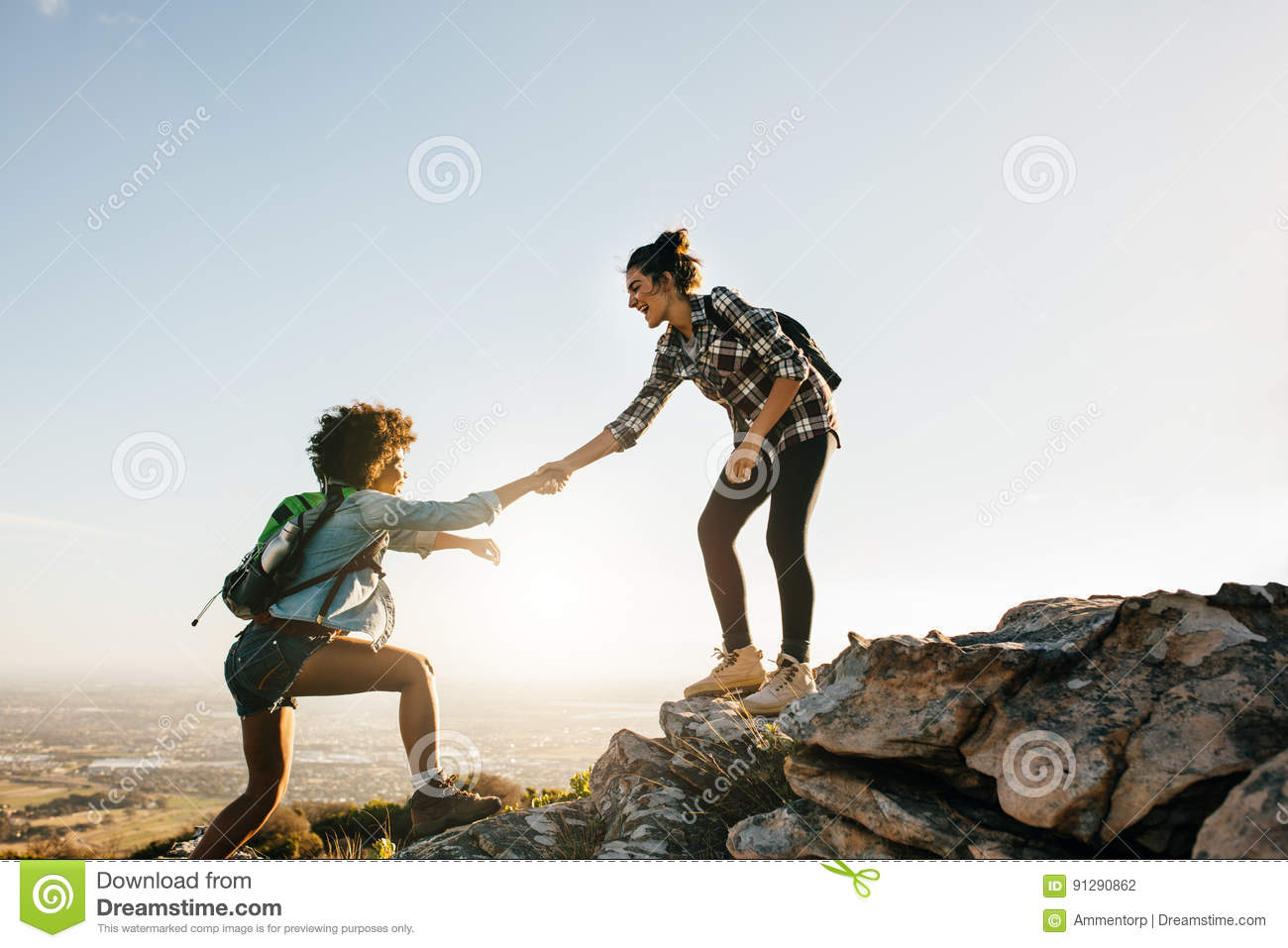 Two young women hiking in nature