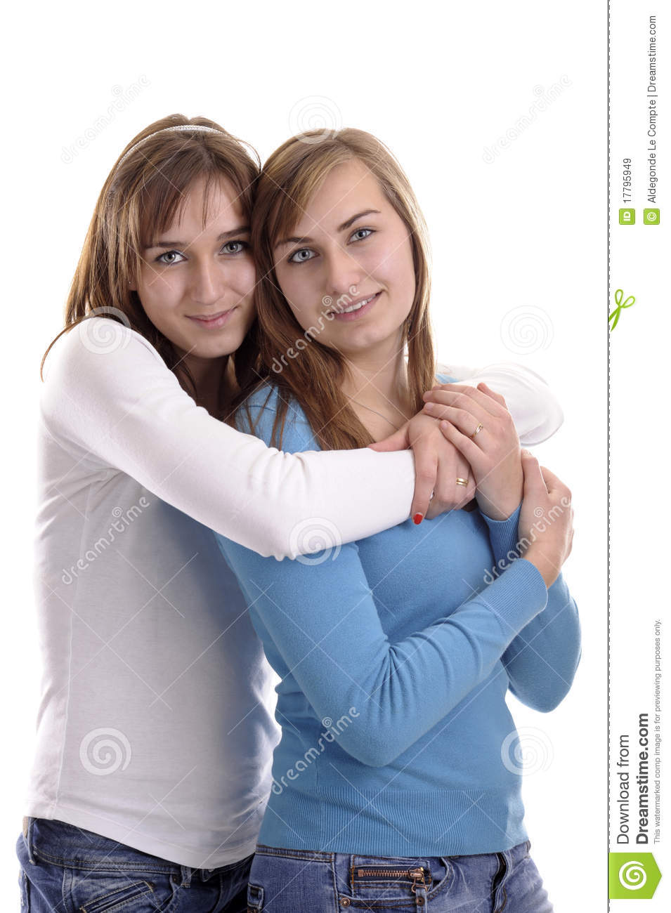 b24d68cdfc Two Young Women Hugging Each Other Stock Image - Image of young ...