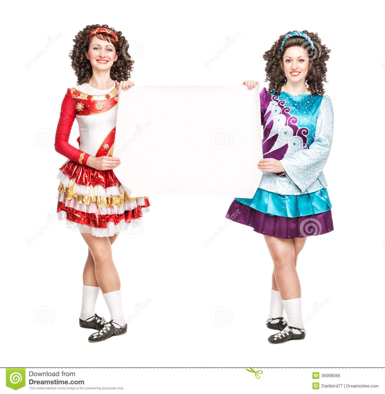 Two Young Women In Irish Dance Dresses With Empty Paper Stock Photo ... 3da856064c