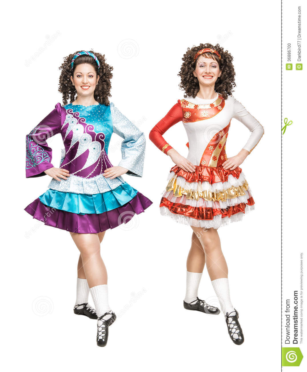 Two Young Women In Irish Dance Dresses Posing Isolated Stock Photo ... 8f99f0c103