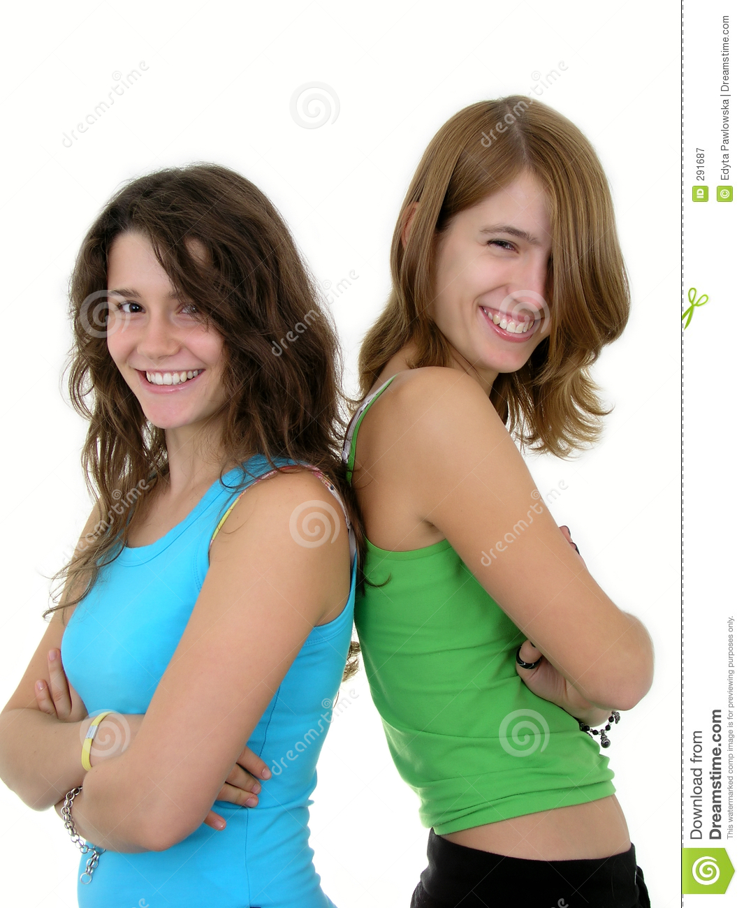 Two young women smiling