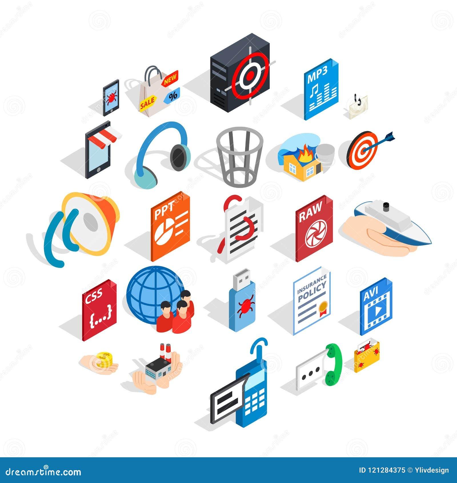 Tworzący reklamowe ikony ustawiać, isometric styl