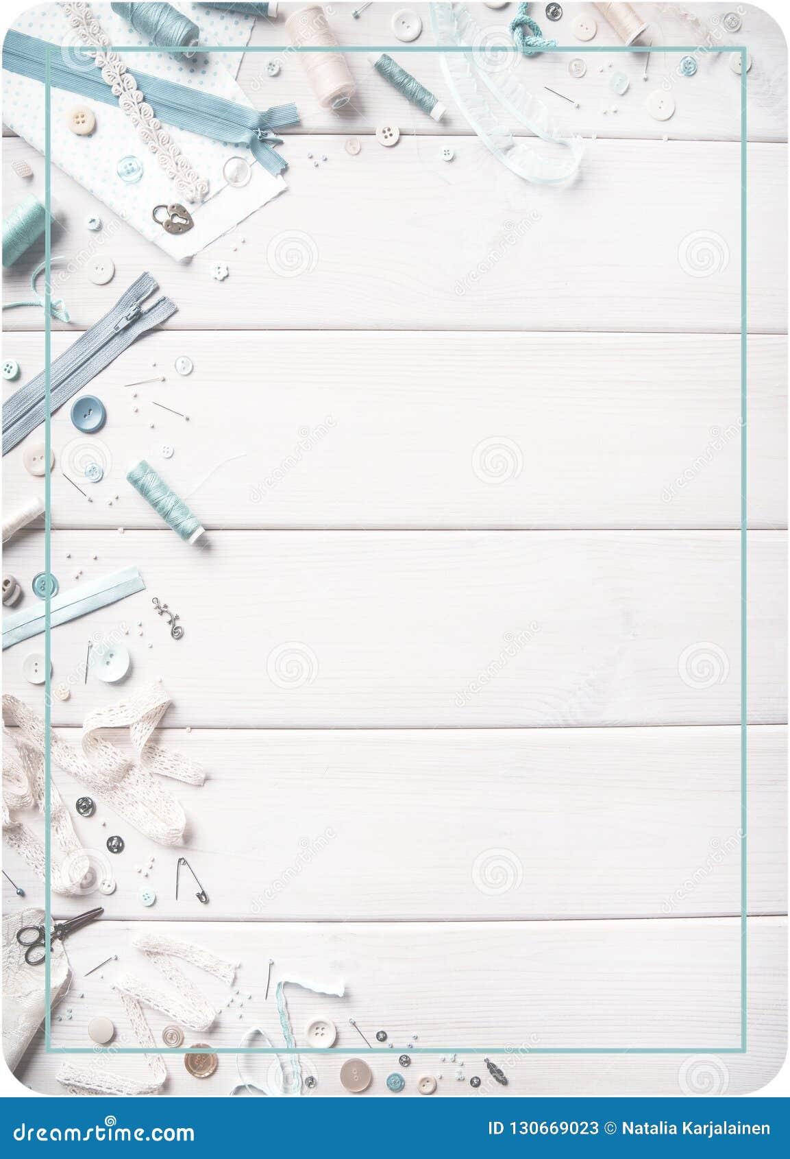 Tworzenie odzieżowy i produkty robić tkanina tło domowy craftsmanship Płaska zasłona, narzędzia i materiały dla cre,