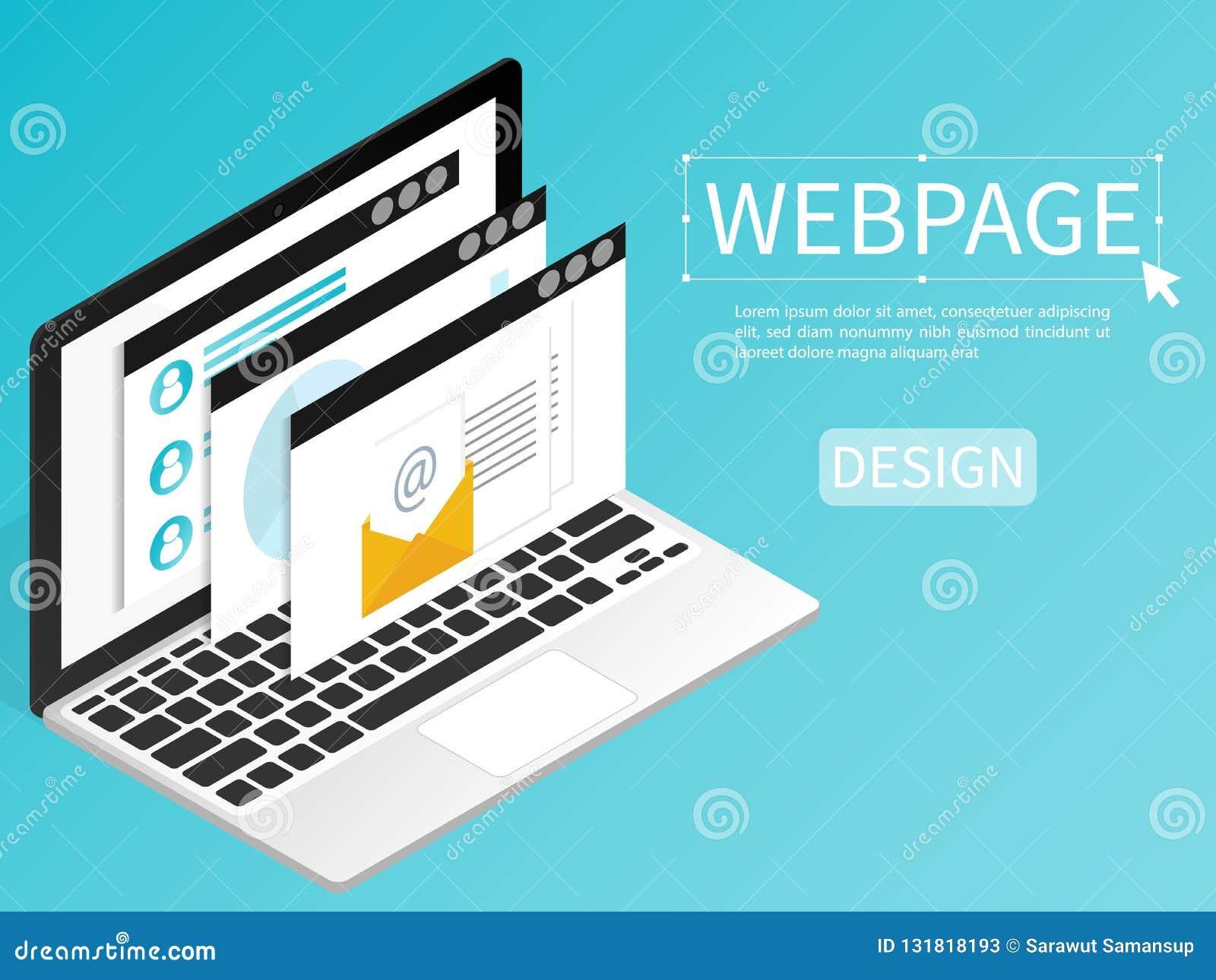 Tworzy strony internetowej webpage projekta komputerowego isometric płaskiego wektor