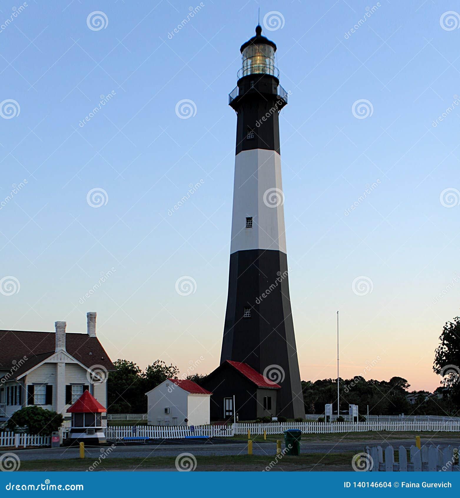 Tybee Island Lighthouse in bianco e nero