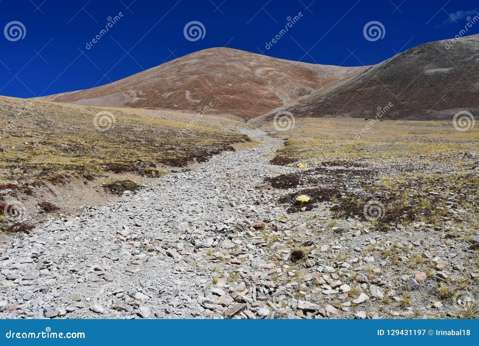 Tybet, lato krajobraz przy wysokością więcej niż 5000 metrów Na sposobie źródło Ind rzeka