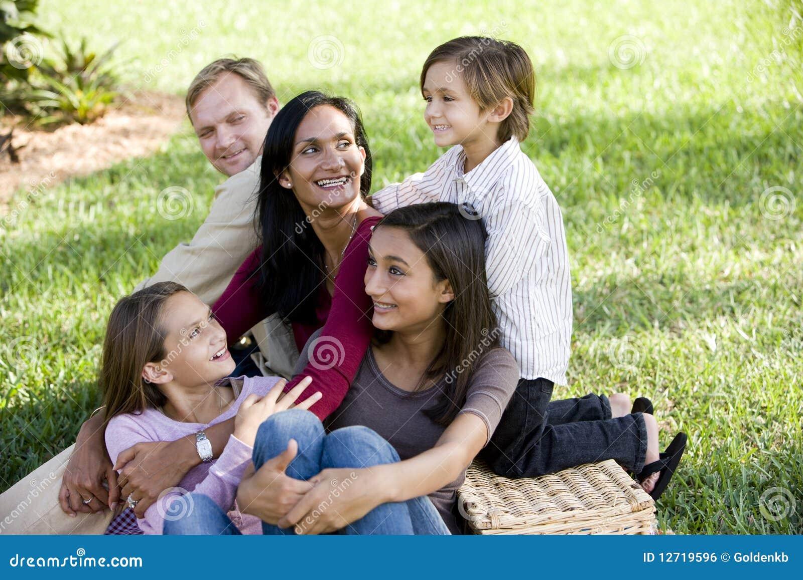 Tycka om den lyckliga interracial picknicken för familj fem