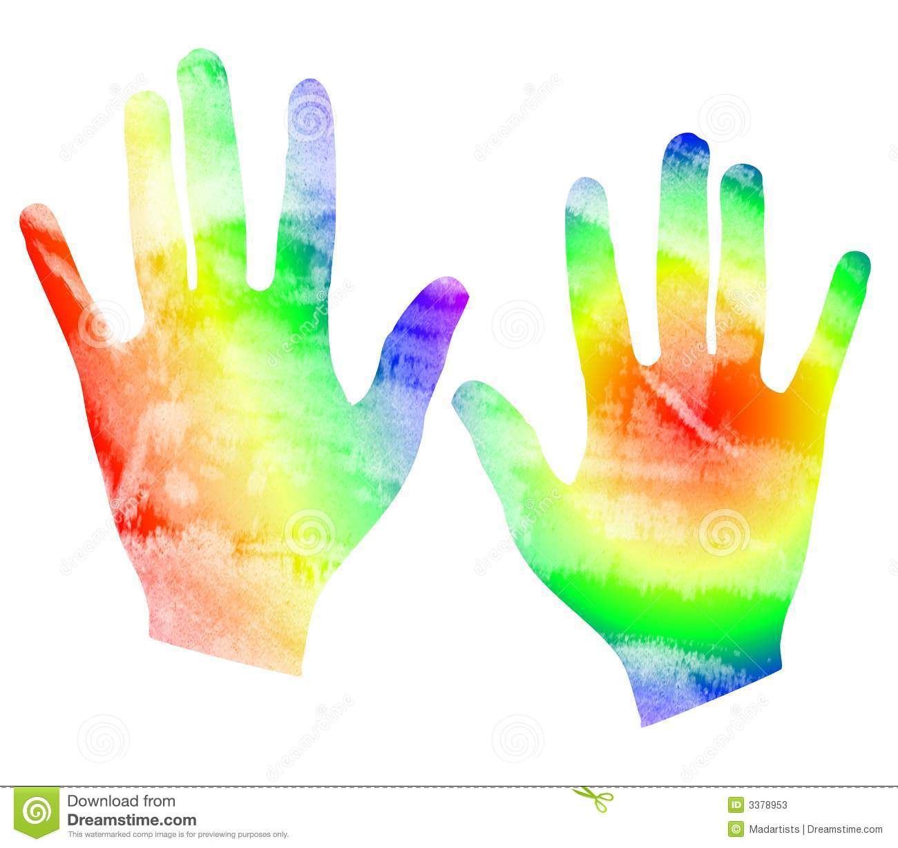 Colorful hand print clipart images for Watercolor paintings of hands
