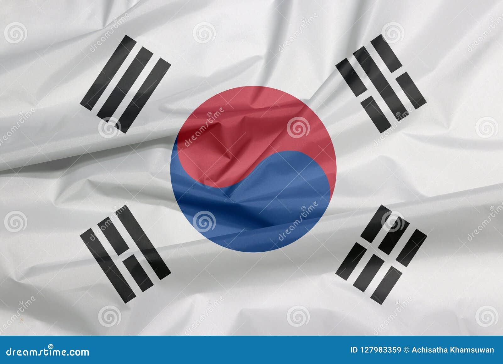 Tygflagga av Sydkorea Veck av sydkoreansk flaggabakgrund