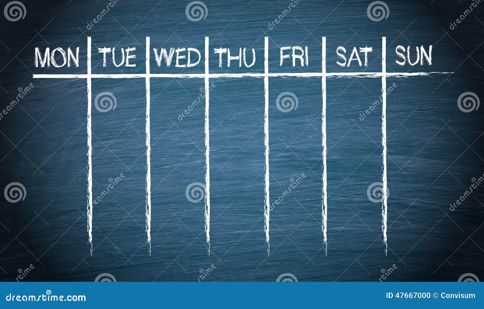 Tygodniowy kalendarz