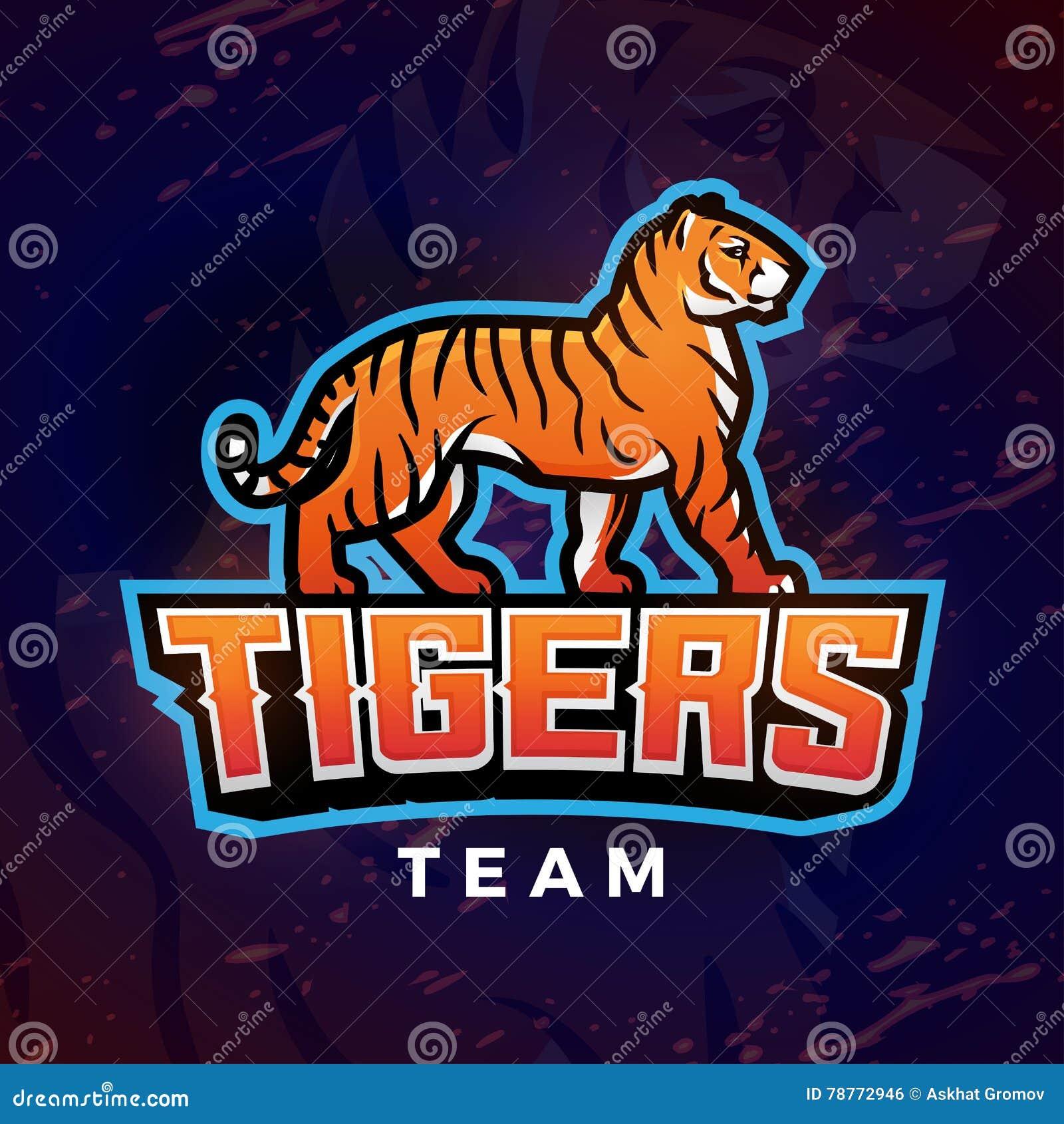 Tygrysi maskotka wektor Sporta loga projekta szablon Futbolu lub baseballa ilustracja Szkoły wyższa ligowa insygnia, szkoły druży