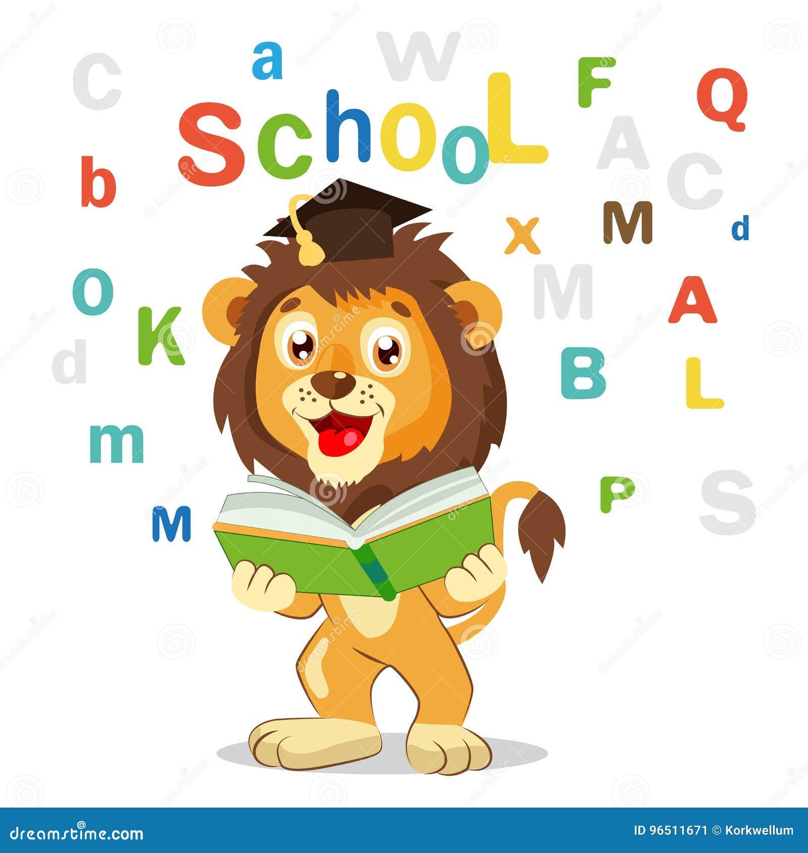 Tylna szkoły Śmieszny lew Czytająca książka Na Białym tle Kreskówka wektoru ilustracje