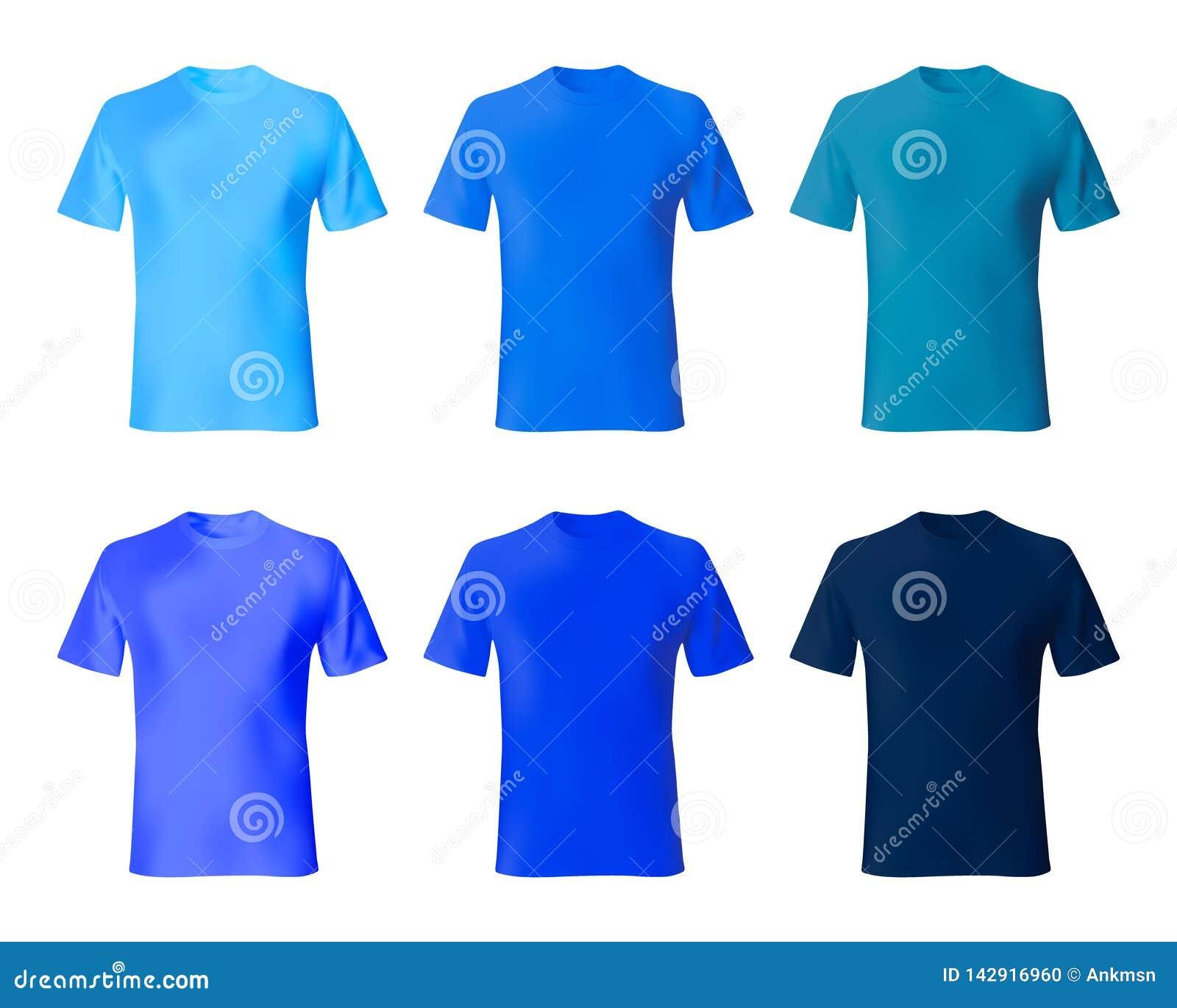 Tylnego projekta przodu koszulowy szablonu widok Ustawia mężczyzn t marynarki wojennej koszulowego błękit, indygowy kolor Realist