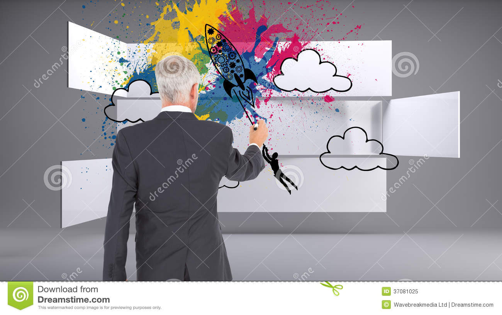 Download Tylni Widok Biznesmena Writing I Pozycja Obraz Stock - Obraz złożonej z grafika, komputer: 37081025