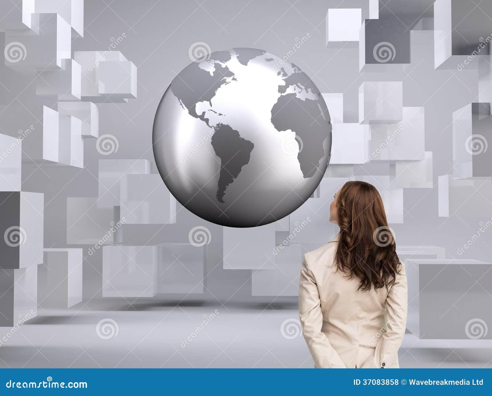 Download Tylni widok bizneswoman zdjęcie stock. Obraz złożonej z kwadrat - 37083858