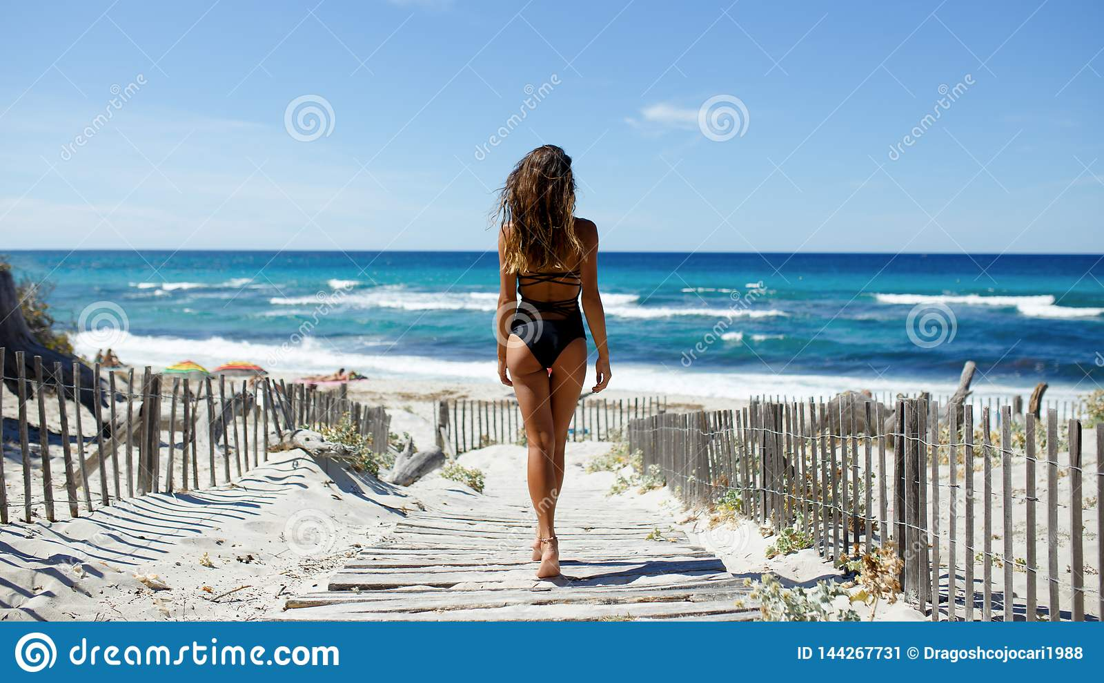 Tylni widok piękna młoda kobieta pozuje na plaży Ocean, plaża, piasek, nieba tło