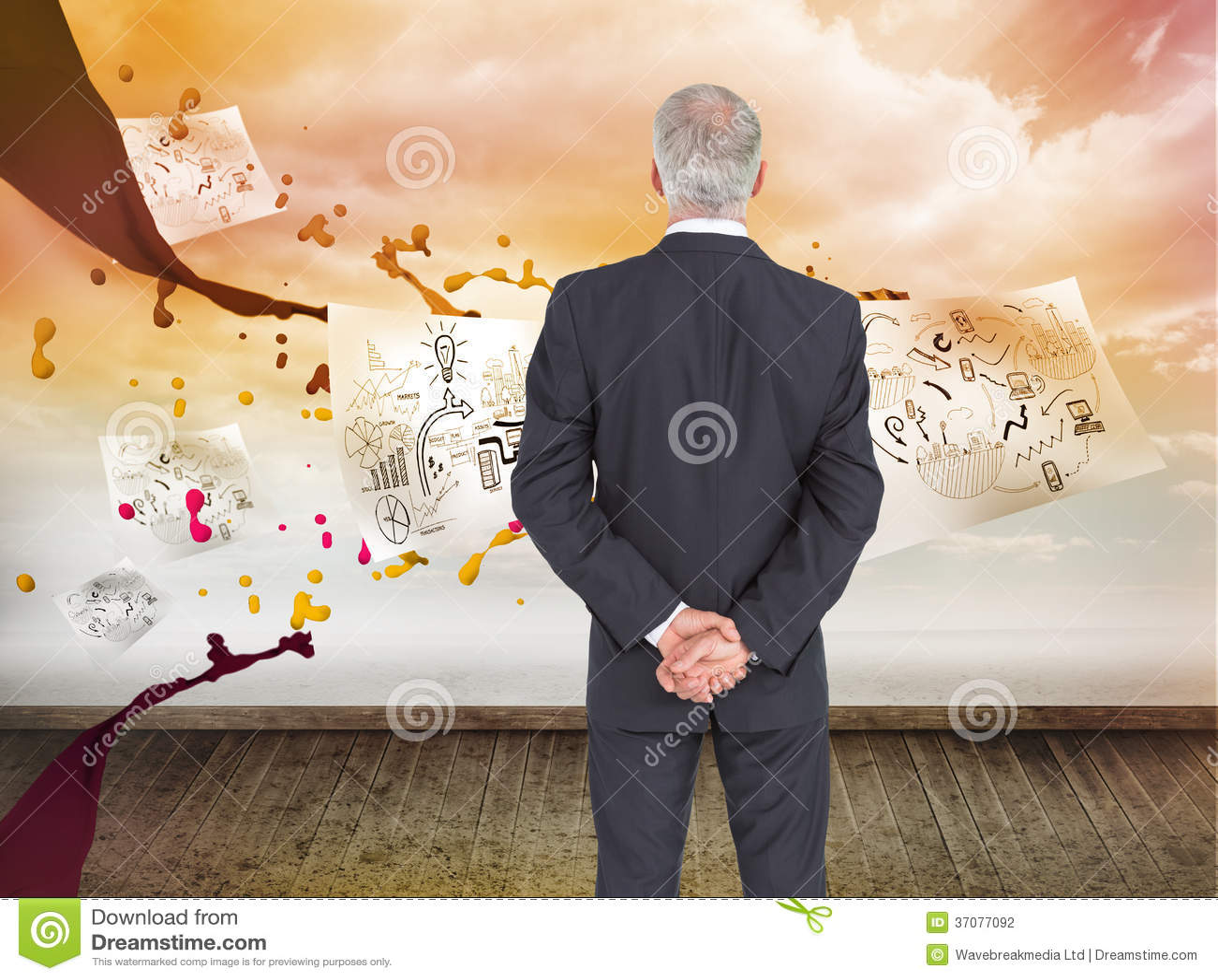 Download Tylni Widok Poważny Biznesmena Pozować Zdjęcie Stock - Obraz złożonej z pomarańcze, pokój: 37077092