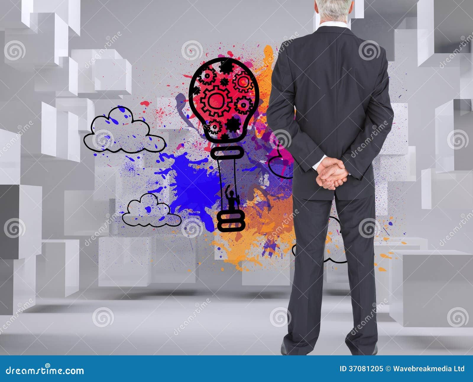 Download Tylni Widok Poważny Biznesmena Pozować Obraz Stock - Obraz złożonej z dojrzały, digitalis: 37081205