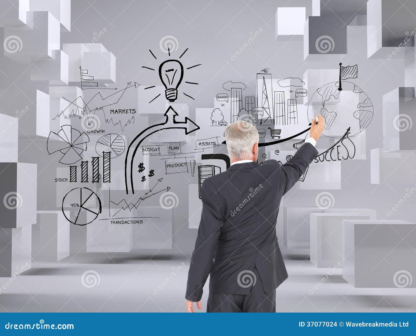 Download Tylni Widok Poważna Biznesmen Pozycja, Writing I Zdjęcie Stock - Obraz złożonej z abstrakt, brainstorm: 37077024