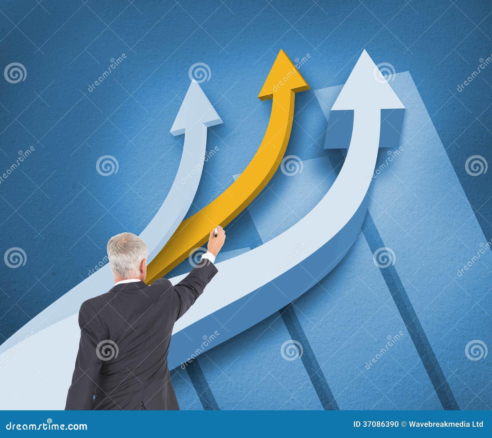 Download Tylni Widok Poważna Biznesmen Pozycja, Writing I Zdjęcie Stock - Obraz złożonej z jeden, biały: 37086390