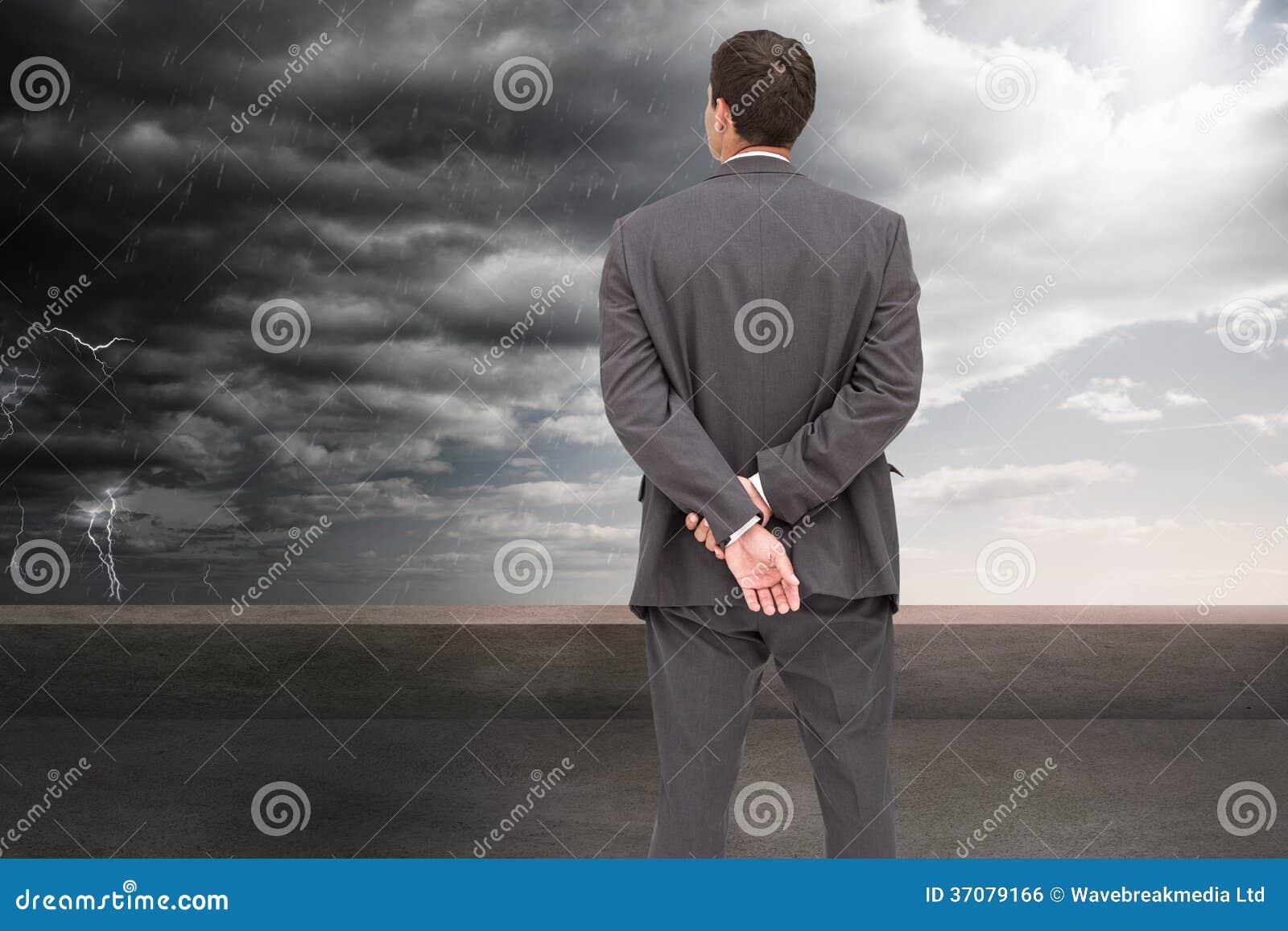 Download Tylni Widok Z Klasą Biznesmena Pozować Zdjęcie Stock - Obraz złożonej z balkon, profesjonalizm: 37079166